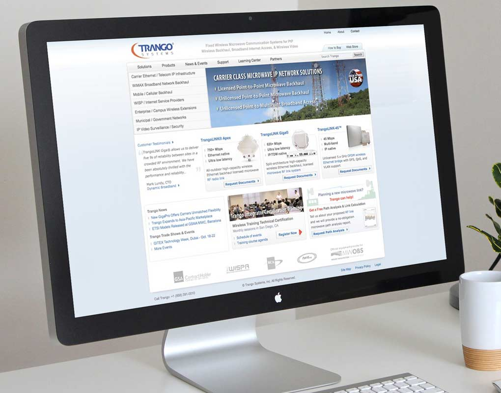 Website design and development for Trango Systems