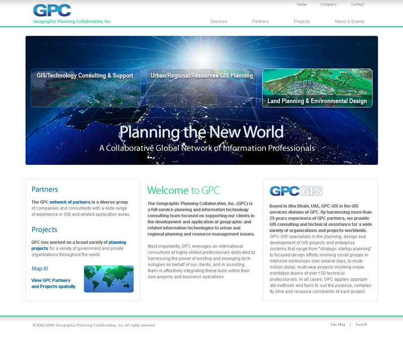 Home page design for mockup GPC