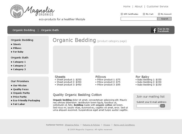 Wireframe for Category page of ecommerce retailer Magnolia Organics