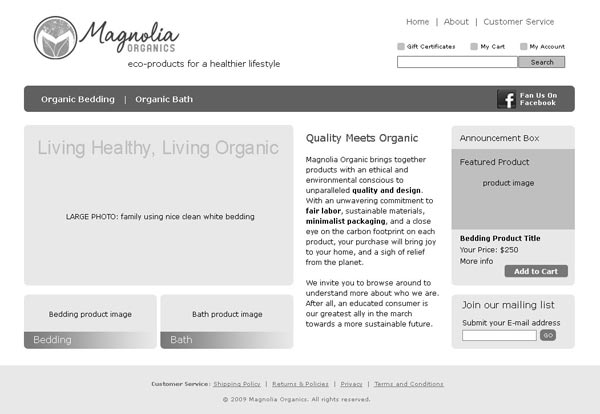 Wireframe for home page of ecommerce retailer Magnolia Organics