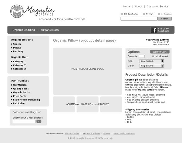 Wireframe for Product Detail page of ecommerce retailer Magnolia Organics