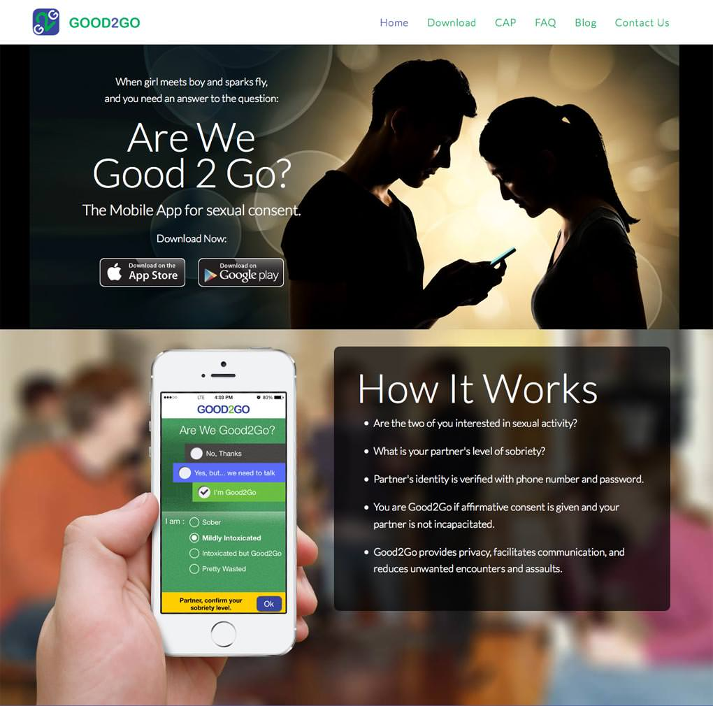 Website Home Page (top) Design for Good2Go App